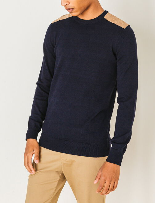 Pull col rond patchs épaules homme