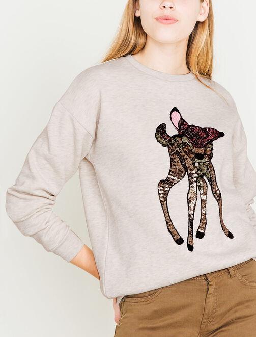 Sweat licence Bambie, en paillette multicolore femme