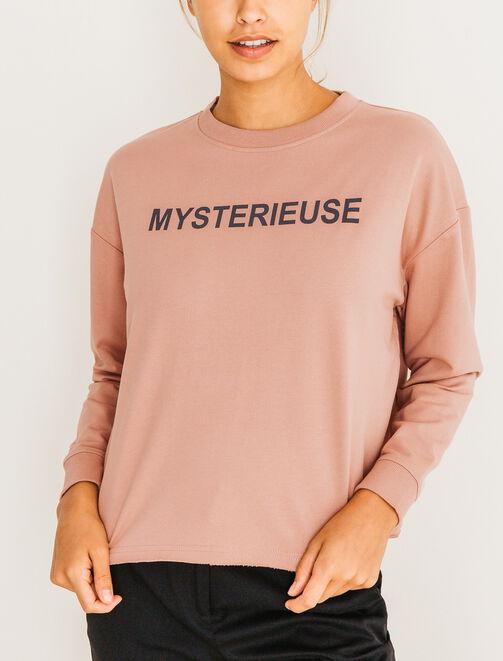 """Sweat col rond message """"Mystérieuse"""" femme"""
