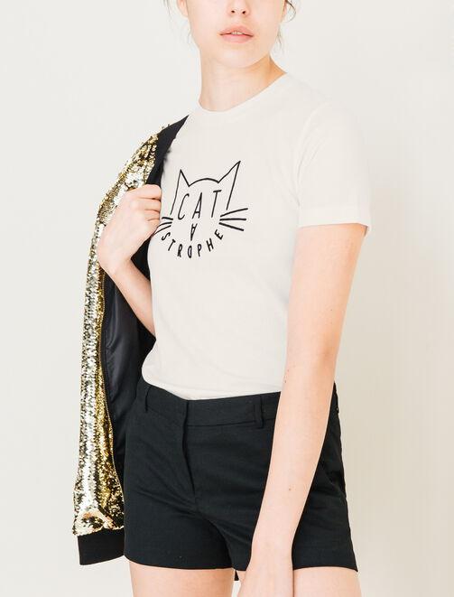 T-shirt chat catastrophe femme