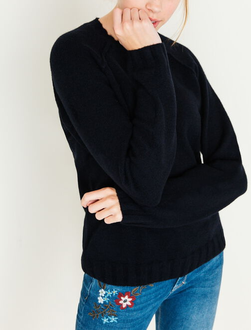 Pull col rond mousseux femme