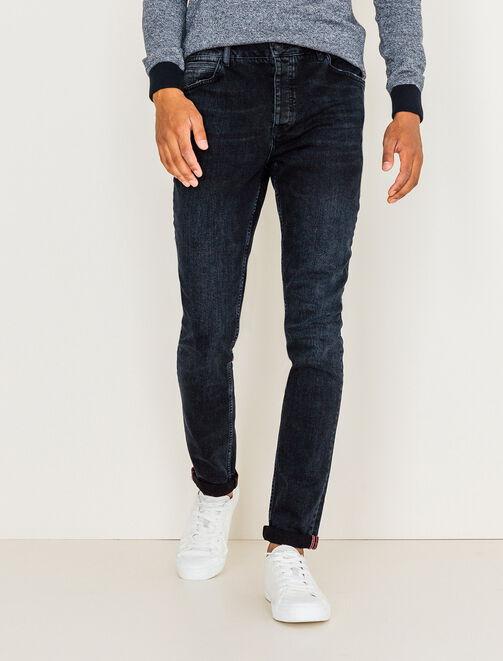 Jean skinny noir bleuté homme
