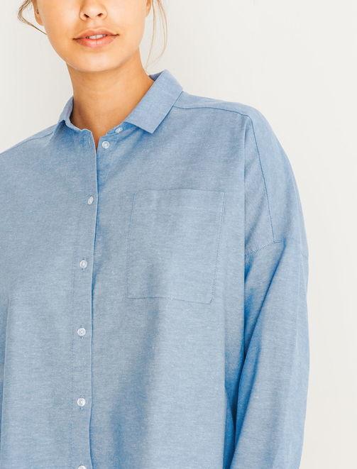 Chemise oversize bleu ciel femme