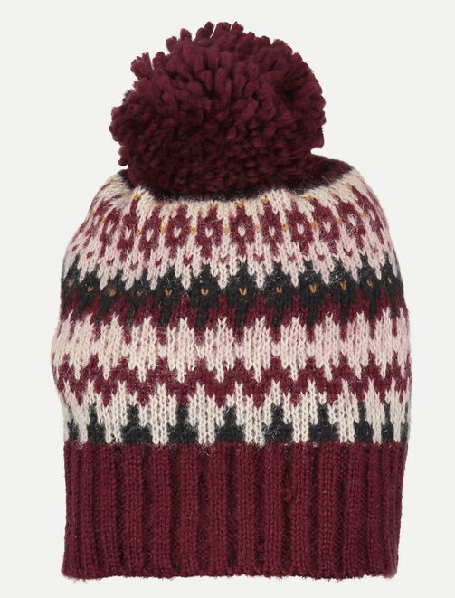 Bonnet en tricot jacquard femme