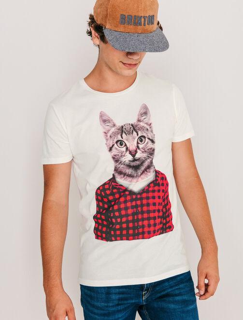 T-shirt imprimé Chat habillé homme