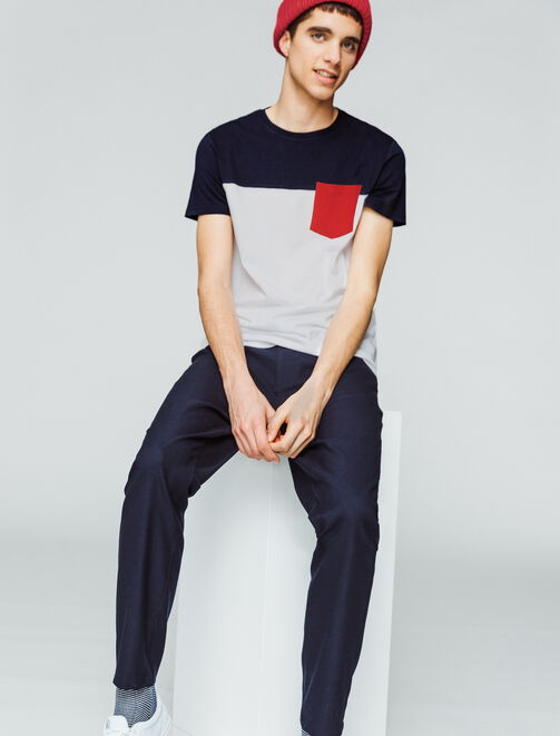 T-shirt color-block poche poitrine homme
