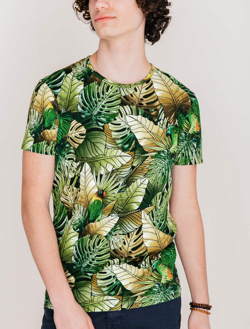 Tee shirt feuillage jungle homme