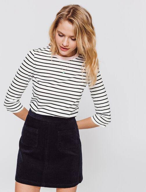 T-shirt marinière manches 3/4 femme