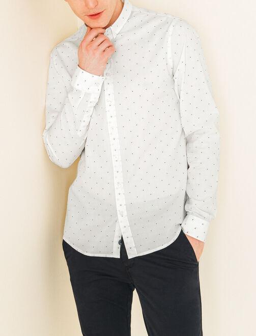Chemise blanche à petits pois homme