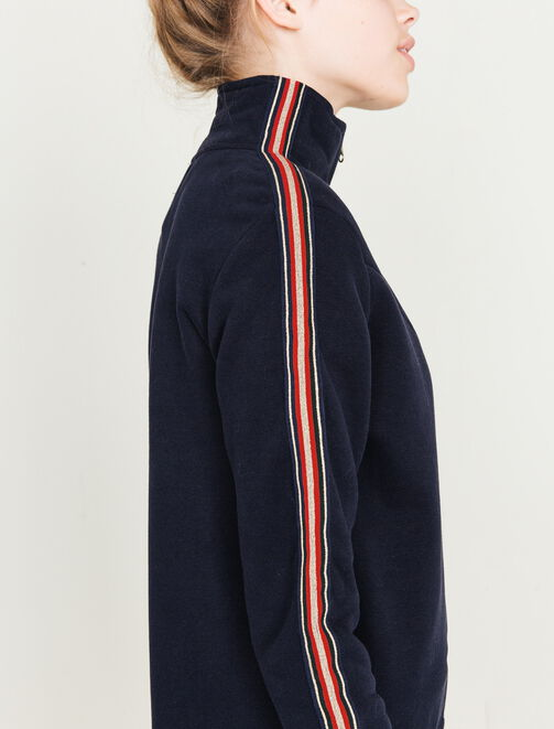 Veste zippée bandes lurex femme