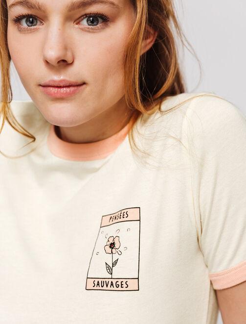 """T-shirt imprimé """"Pensées sauvages"""" en col contrast femme"""