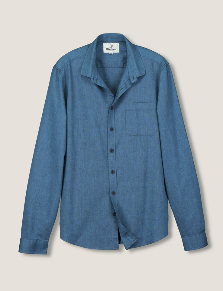 chemise oxford col rond homme bleu grise bizzbee. Black Bedroom Furniture Sets. Home Design Ideas