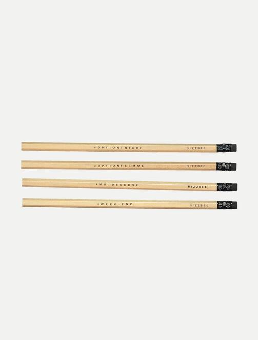 Lot de 4 crayons de bois  tendances