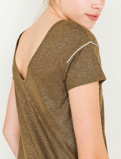 T-shirt col V dos, pailleté  femme