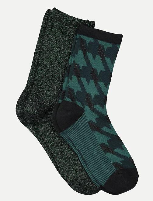 Lot de 2 chaussettes vertes femme