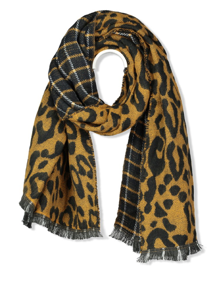 plaid biface leopard femme jaune moutarde bizzbee. Black Bedroom Furniture Sets. Home Design Ideas