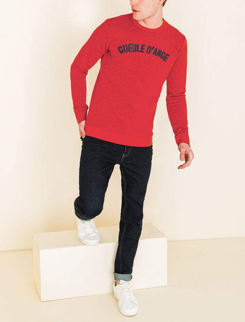 """Sweat col rond typo """"Gueule d'ange"""" homme"""