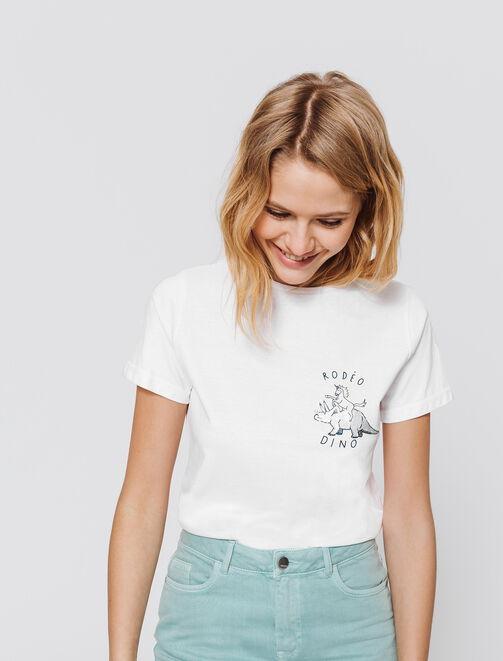 T-shirt col rond, animation DINO RODEO en paillett femme