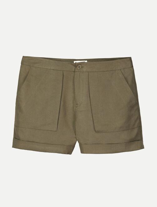 Short Tencel, poches cargo femme