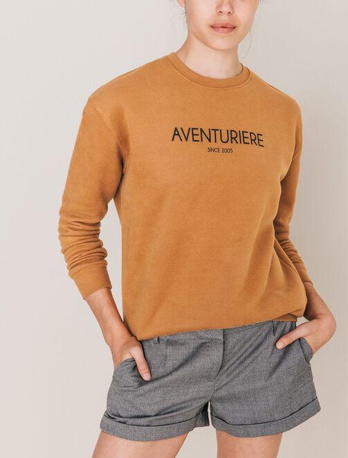 "Sweat col rond message ""Aventurière"" femme"