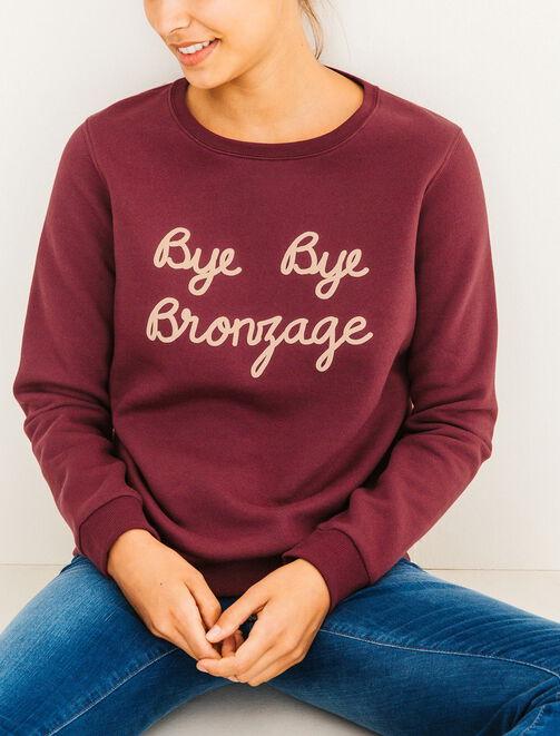 "Sweat col rond ""Bye bye bronzage"" femme"