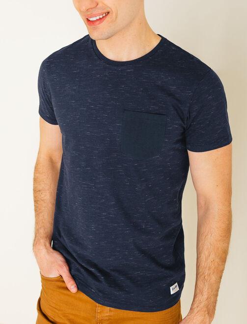 Tee shirt matière fantaise et poche en twill homme