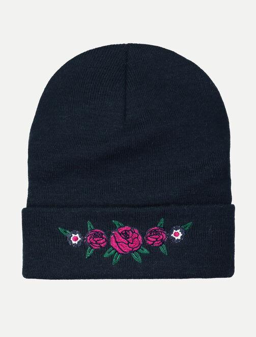 Bonnet broderie fleurs femme