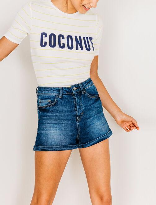 """T-shirt rayé à message """"Coconut"""" femme"""