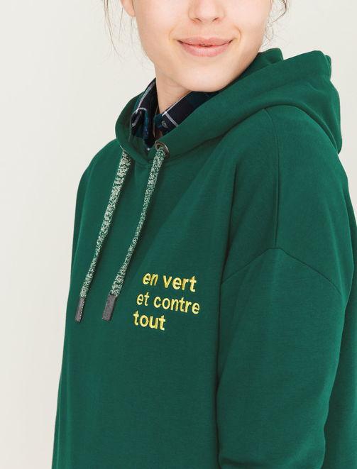 """Sweat message brodé """"en vert et contre tout"""" femme"""