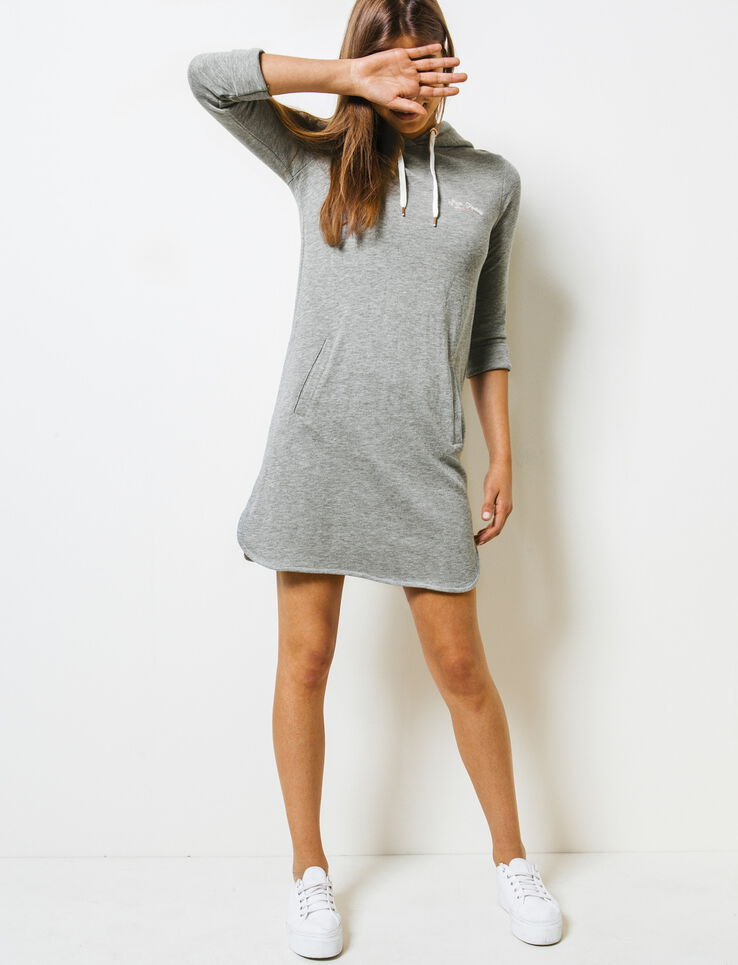 robe sweat capuche femme gris chin moyen bizzbee