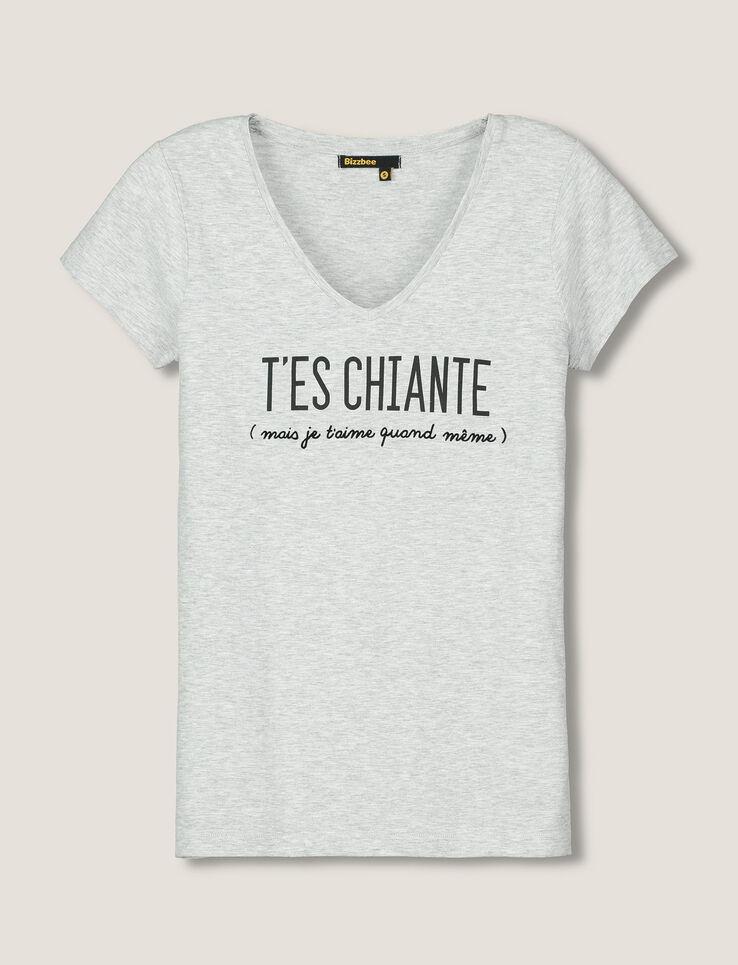 T-shirt Saint-Valentin message T'es chiante femme Gris ...