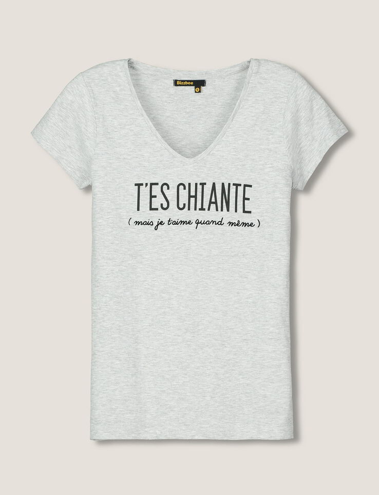 t shirt saint valentin message t 39 es chiante femme gris chine clair bizzbee. Black Bedroom Furniture Sets. Home Design Ideas
