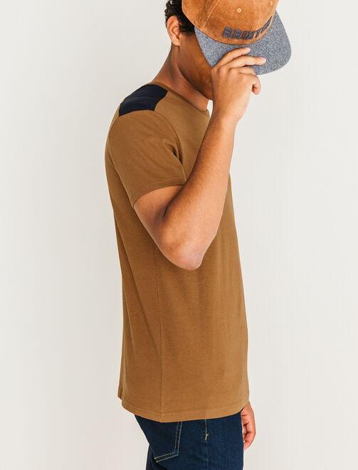 T-shirt patch épaules homme