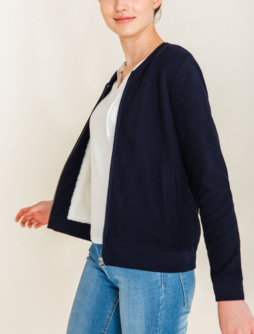 Sweat fourré coupe bombers femme