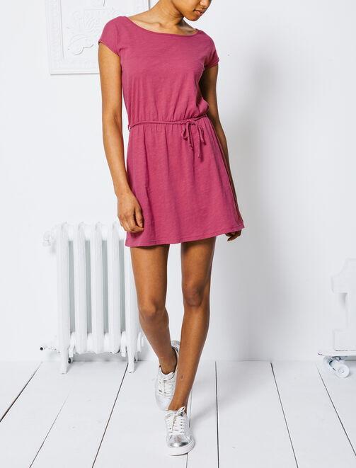 Robe unie chinée rose femme