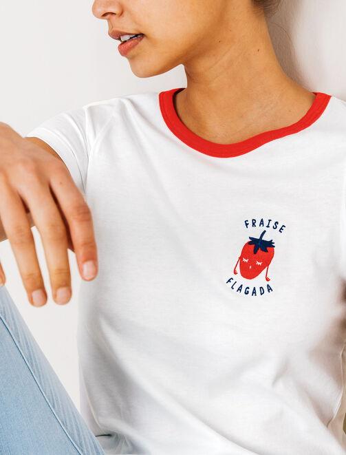 T-shirt imprimé poitrine fraise flagada femme