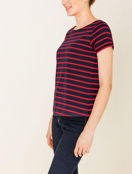 Tee shirt à rayures bicolores femme