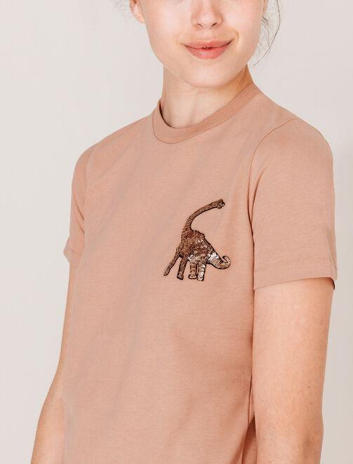 T-shirt manches courtes dinosaure en sequins femme