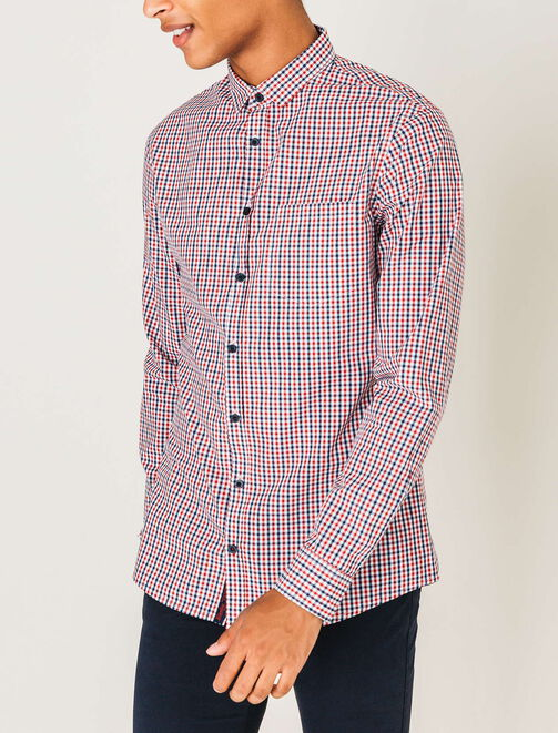 Chemise vichy rouge homme