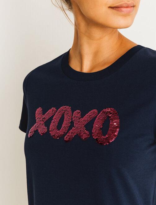 """T-shirt """"xoxo"""" à sequins magiques femme"""