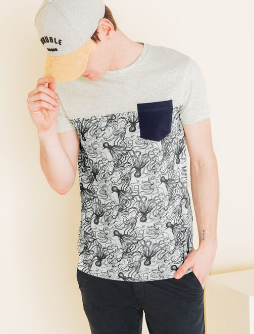 Tee shirt color-block pieuvres homme
