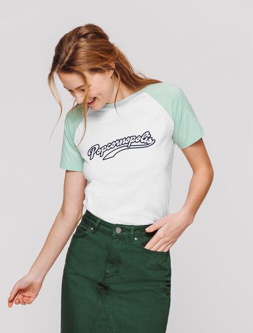 T-shirt à message, style campus  femme