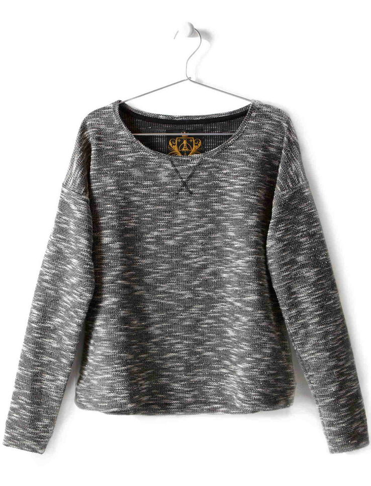 Sweat manches longues col rond fil fantaisie
