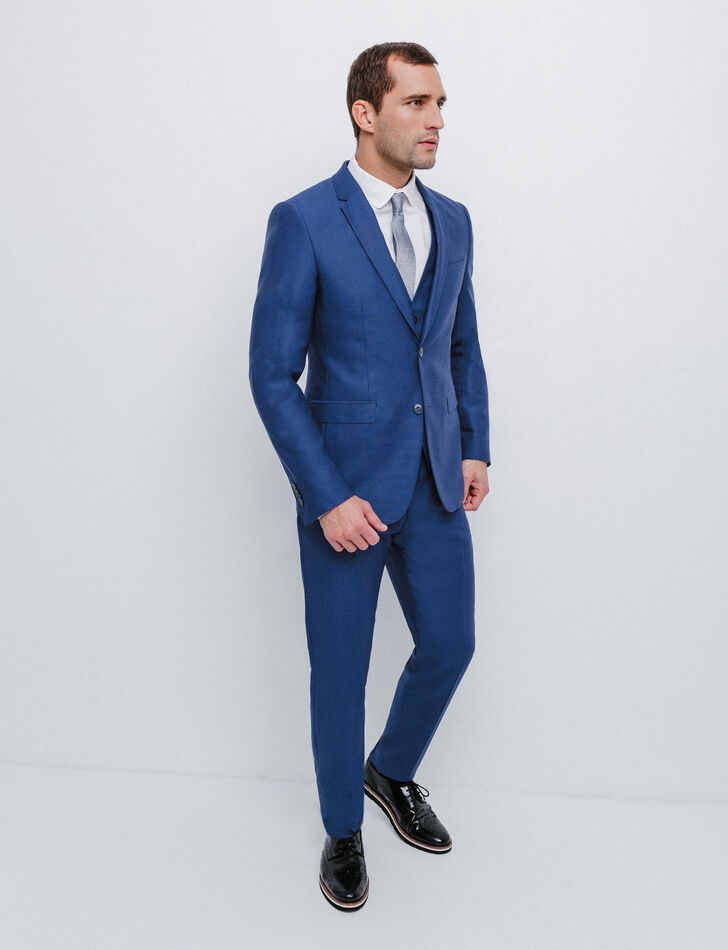 Costume slim en laine bleu vif