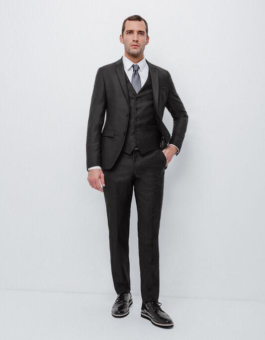 Costume 3 pièces slim en laine noir