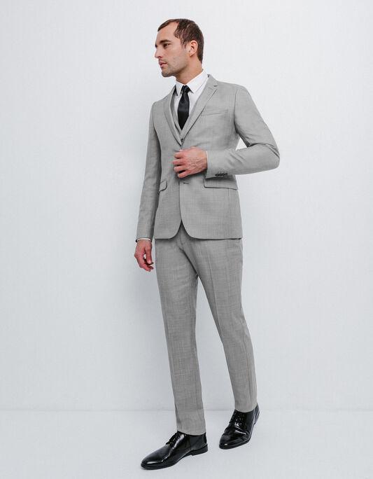 Costume slim en laine gris clair