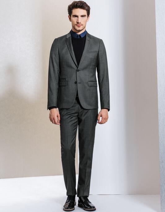 Costume 100% laine gris chiné foncé