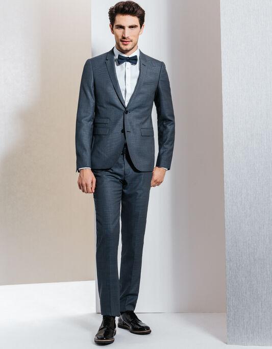 Costume 100 % laine gris bleuté