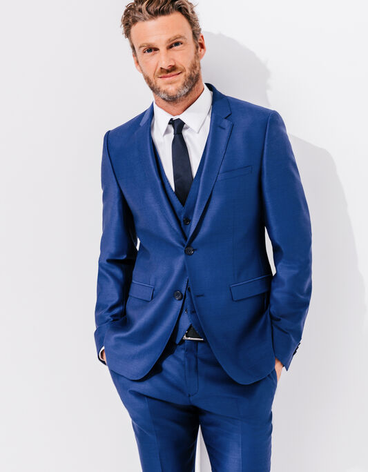 Costume slim laine bleu vif