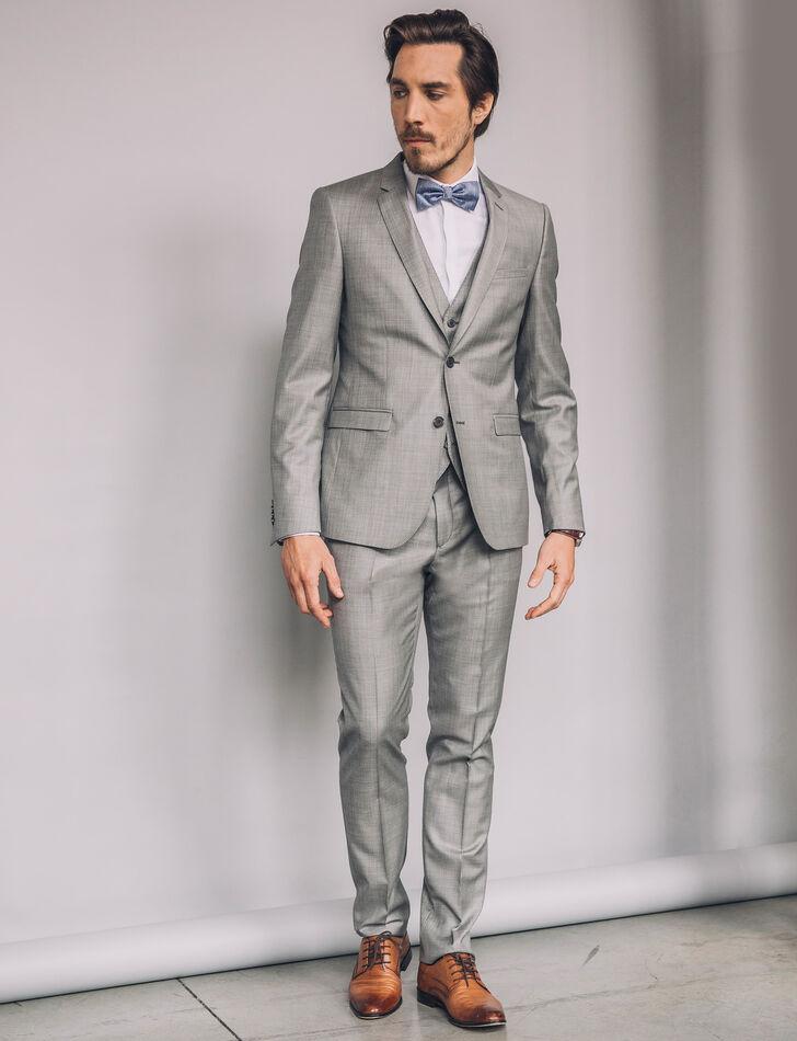 Costume homme 100% laine gris clair